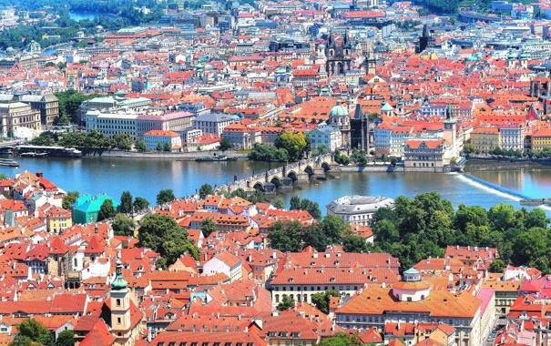 Фото обои крыша, башня, дома, Прага, Чехия, панорама, Карлов мост