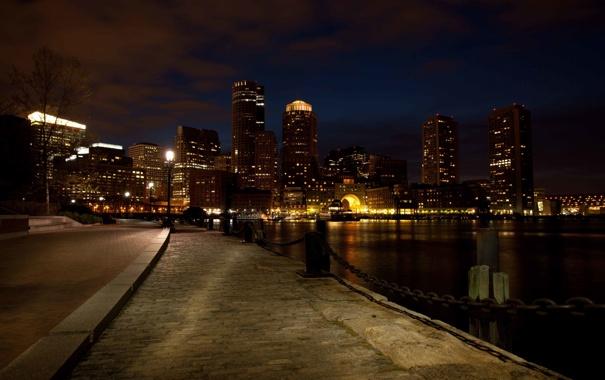 Фото обои ночь, порт, набережная, Бостон