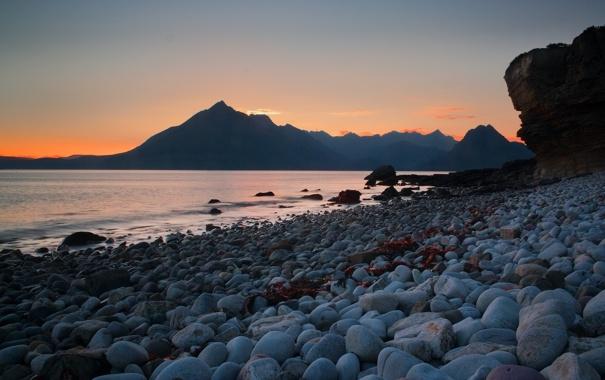 Фото обои пляж, горы, океан, рассвет, утро