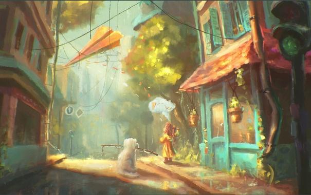 Фото обои город, дом, улица, собака, арт, светофор, девочка