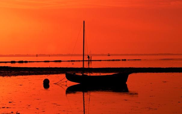 Фото обои закат, лодка, небо, море
