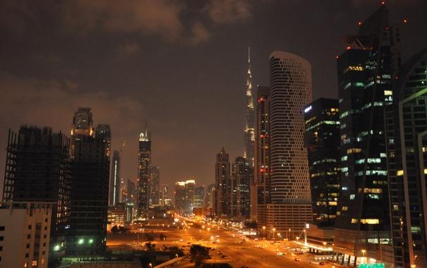 Фото обои ночь, город, фото, дороги, небоскребы, фонари, Dubai