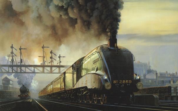 Фото обои небо, дым, рельсы, вагоны, Станция, локомотив, поезда