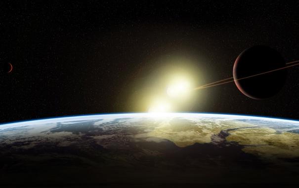 Фото обои планеты, звездная система, star sistem