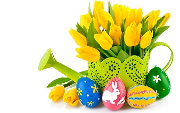 Фото обои Пасха, тюльпаны, букет, желтые тюльпаны, яйца, цветы