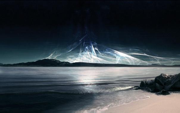 Фото обои волны, звезды, камни, берег