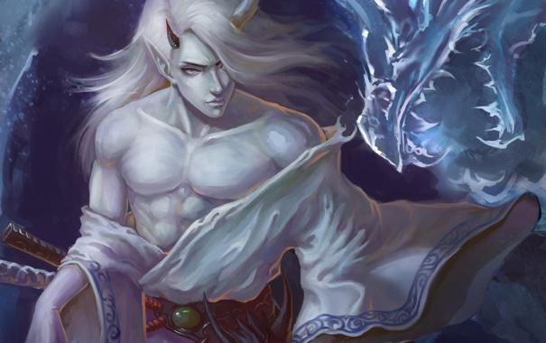 Фото обои дракон, арт, рога, парень