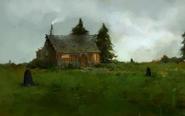 Фото обои дом, ёлки, нарисованный пейзаж