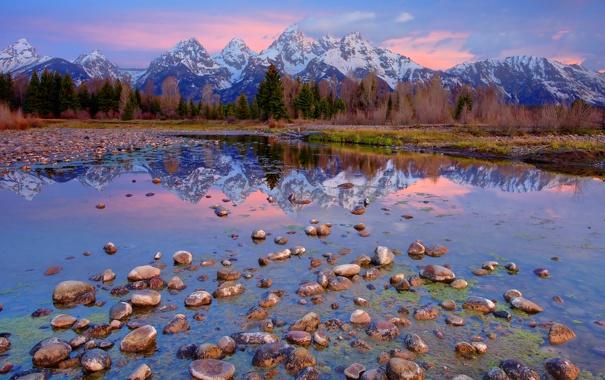 Фото обои лес, небо, облака, деревья, горы, природа, озеро