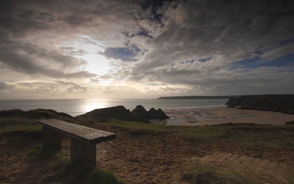 Фото обои облака, пляж, тучи, море, скамейка