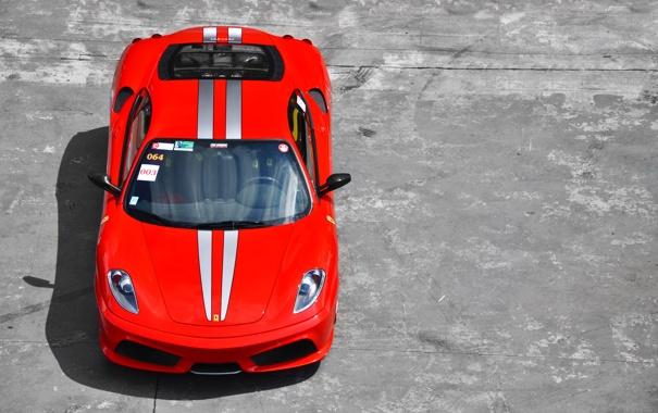 Фото обои Ferrari, F430, бетон, красная, феррари, red