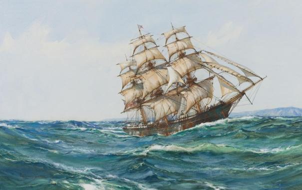 Фото обои море, парусник, паруса, Montague Dawson