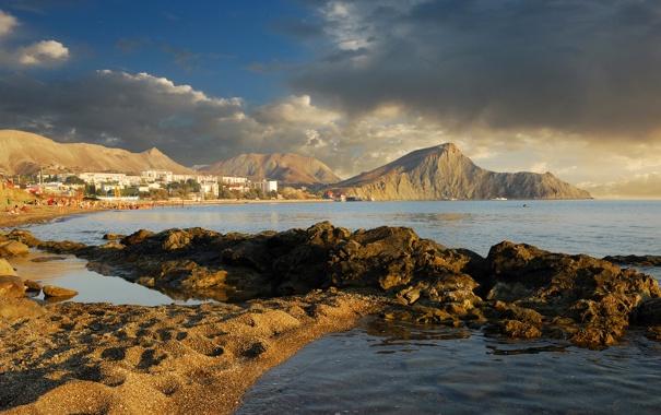 Фото обои море, небо, пейзаж, природа, фото, побережье, Россия