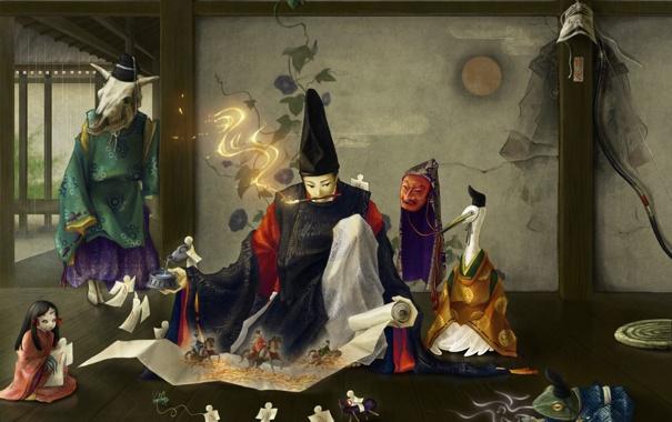 Фото обои япония, художник, оригами, сказочные, создания, Origami