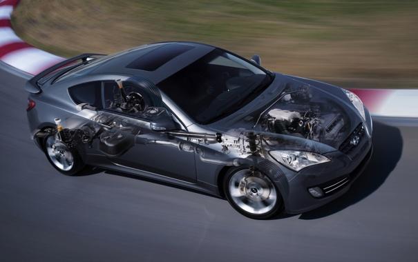 Фото обои серый, купе, гоночный трек, coupe, передок, hyundai, хёндай