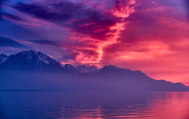Фото обои Pink, Clouds, Switzerland, Sunset, Lake, Montreux, Geneva
