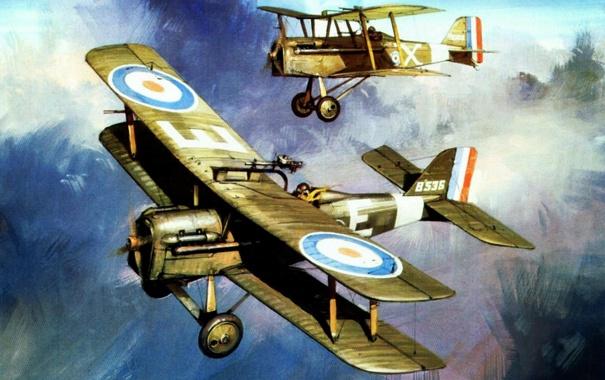 Фото обои airplanes, drawing, pilots, biplanes