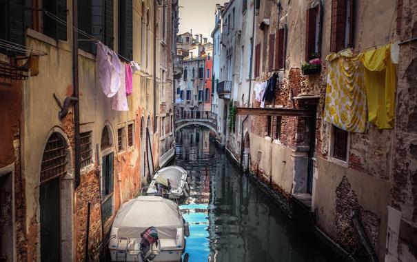 Фото обои вода, город, стены, здания, лодки, Италия, Венеция