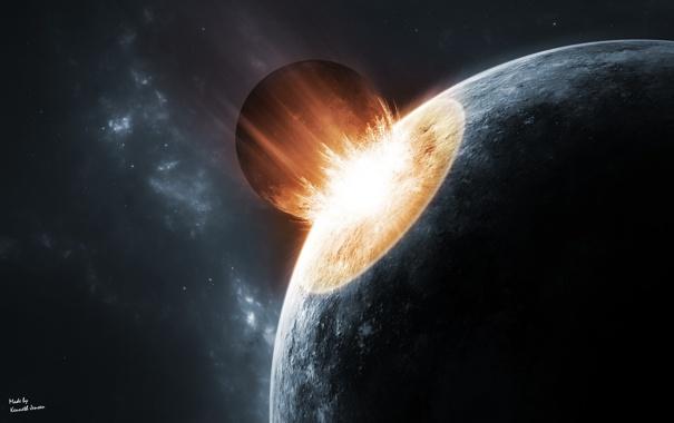 Фото обои огонь, планета, катастрофа, астероид, ударная волна, гибель, impact