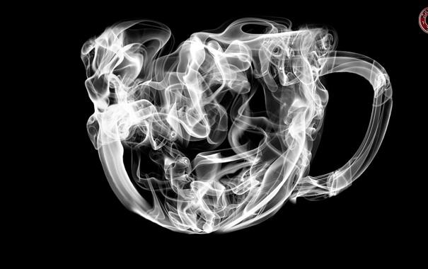 Фото обои абстракция, чёрно-белое, кружка