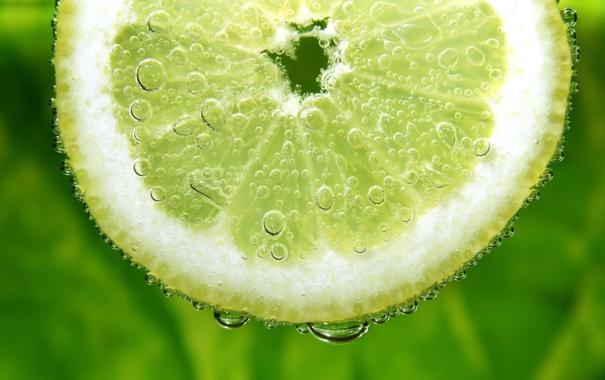 Фото обои пузырьки, лимон, долька, лайм, цитрус