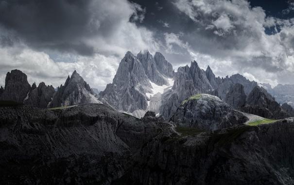 Фото обои небо, облака, горы, природа, вершины