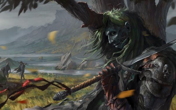 Фото обои камни, люди, дерево, ветер, меч, арт, труп