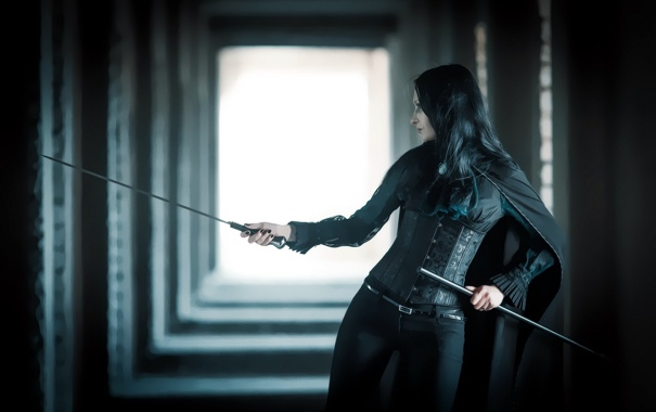 Фото обои девушка, оружие, меч