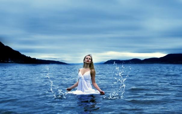 Фото обои море, девушка, настроение