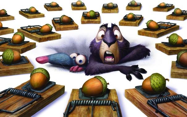 Фото обои ловушка, орехи, крыса, Белка 3D, The Nut Job