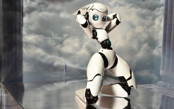 Фото обои облака, поверхность, поза, робот, высота, арт, девочка