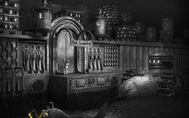 Фото обои город, черный, робот, дома, рыба, железный