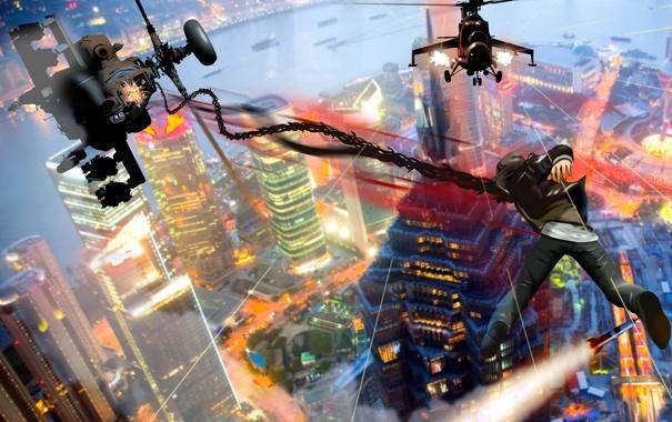 Фото обои город, игра, высота, дома, Prototype, вертолеты, парень