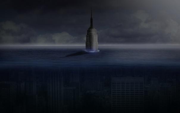 Фото обои море, вода, город, апокалипсис, нью йорк