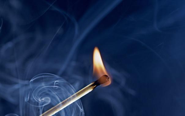 Фото обои макро, огонь, дым, спичка