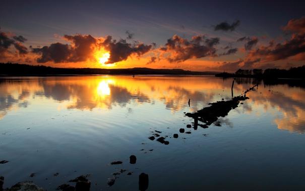 Фото обои небо, закат, озеро