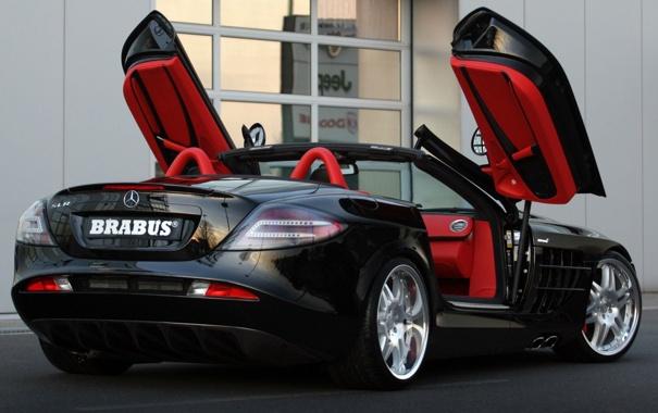 Фото обои car, авто, красный, черный, сзади, кабриолет, mercedes-benz