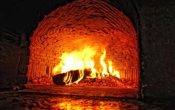 Фото обои огонь, пламя, камин, очаг, полено