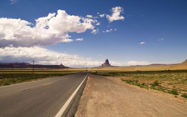 Фото обои дорога, поле, трава, облака