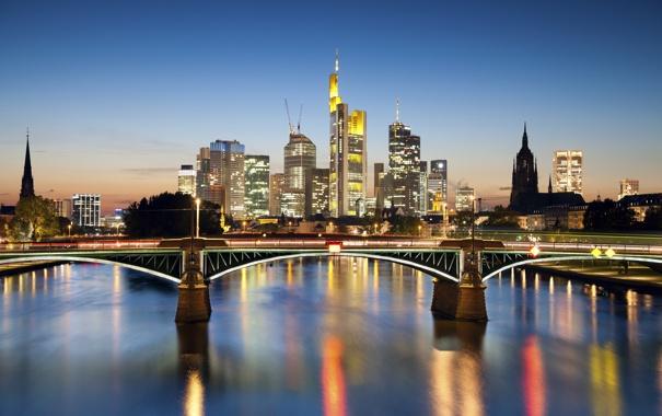 Фото обои ночь, мост, city, город, ночные огни, Германия, bridge