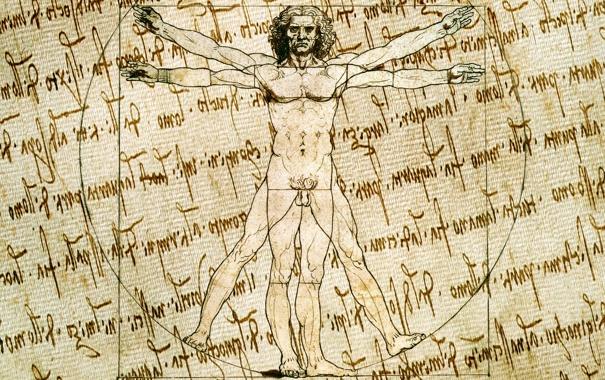 Фото обои leonardo da vinci, human body, paper effect