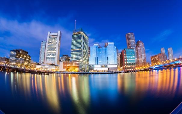 Фото обои город, отражение, река, дома, вечер, Бостон, Boston skyline