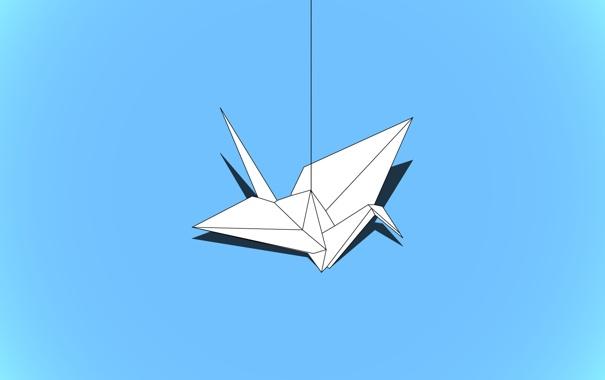 Фото обои бумага, птица, минимализм, журавлик, оригами, crane, megafatboy