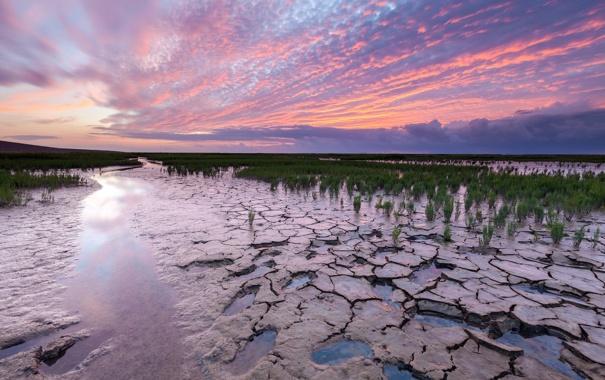 Фото обои пейзаж, закат, река