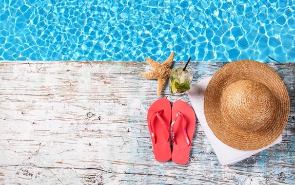 Фото обои коктейль, полотенце, сланцы, морская звезда, вода, шляпа