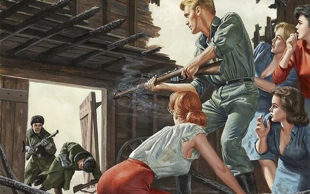 Фото обои девушки, рисунок, выстрел, сарай, арт, солдаты, винтовки