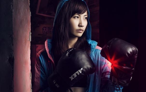 Фото обои девушка, спорт, бокс