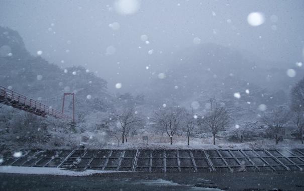 Фото обои снег, мост, Япония, Кита Адзуму, Префектура Факусима