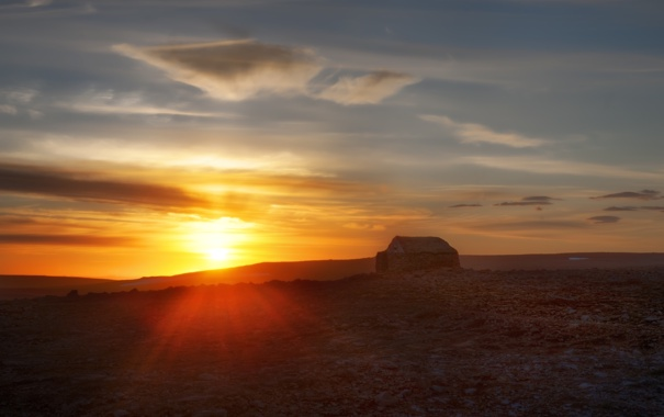 Фото обои закат, дом, пустыня