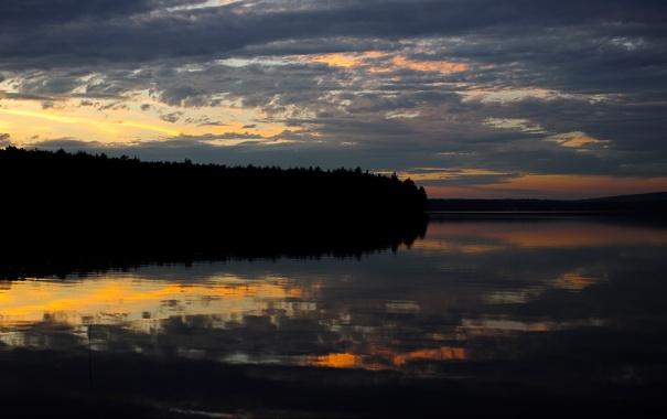 Фото обои лес, закат, озеро, вечер, зеркало